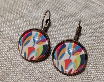 Earrings cabochon stud earring - contemporary style