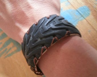 Handmade bracelet with recycled bike tire recycle tyre