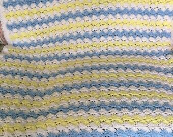 Crochet Baby Blanket Boy Shell Stitch