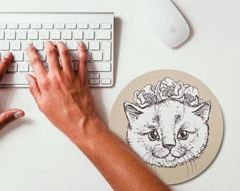 Kitten Painting Mouse Pad Mouse Mat Design Round Mousepad Office Decor Hipster Animal Hipster Mousemat Office Gift Mouse Pad Kids Room Decor