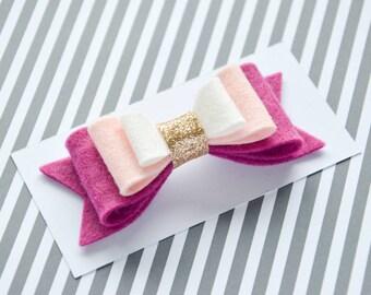 Felt hair clip for girl || infant hair clip pink || pink hair bow for girl || purple hair bow for infant || toddler hair bow glitter ||