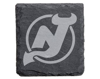 New Jersey Devils Engraved Slate Coasters