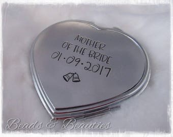 Mother Of The Bride, Mother Of The Groom, Bridesmaid, Mirror Compact, Personalised Wedding Gift, Present, Personalized