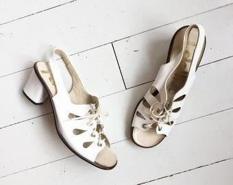 Vintage summer wedding lace up pumps heels sandals size uk6,5 EU 40,5
