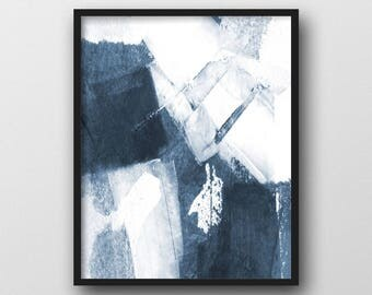 Abstract Painting, Blue and White Scandinavian Print, Printable Art, Abstract Art, Minimalist Art, Modern Home Decor, Minimalist Poster