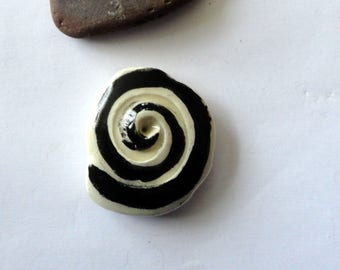 Pearl black and white spiral - ceramic-made in the hand-component for jewelry-art ceramic