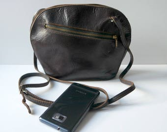 Vintage Brown Leather Crossbody Bag, Mini Crossbody Bag, Brown Leather Shoulder Bag,Festival Bag, 1960s/1970s