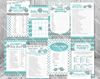 Elephant Baby Shower Games Blue, Teal Blue Elephant Baby Shower Game Ideas, Printable Baby Shower Game Pack, Blue and Gray Baby Shower Games