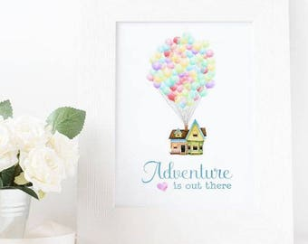 Adventure is Out There || Disney Print || Up Quote || Nursery Art || Balloons || Digital Art || Valentine's
