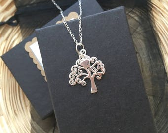 Tree of Life with Sterling Silver Heart Necklace