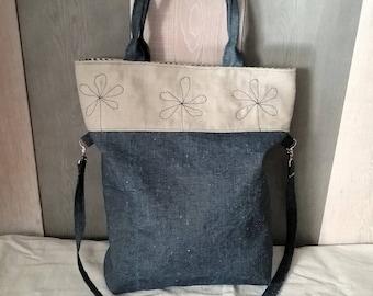 Shoulder bag in jeans fabric