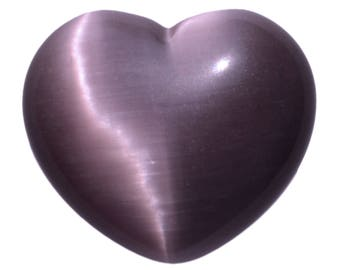 Puffy Palm Heart Light Purple Fiber Optic Cats Eye Glass Large Hand Carved Love