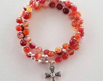 Red Striped Agate Stretch Rosary Bracelet