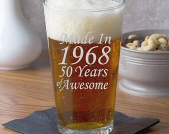 50th Birthday, 50th Birthday Gift, Party Favors, Mom 50th, Dad 50th, 50th Birthday for Women, Made in 1968, Birthday Glass, 50th Rocks Glass