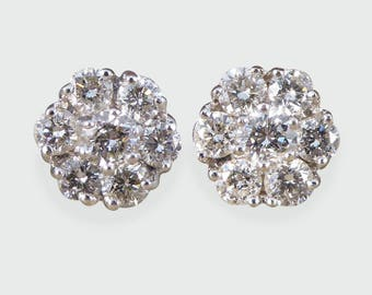 Contemporary Diamond Cluster Earrings in 18ct White Gold