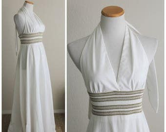 Vintage 70's White Gold Silver Metallic Ribbed Knit Halter Maxi Dress ACT II
