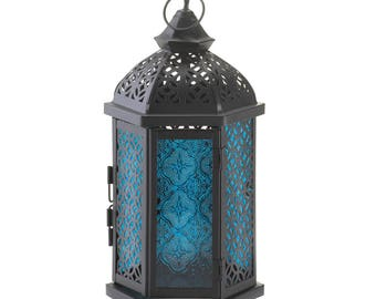 Blue Cove Candle Lantern lanterns, outdoor living, home and garden, patio, home decor,