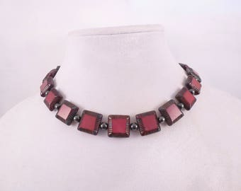 Ruby Red Squares Choker Necklace & Earrings
