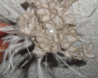 Brown lace for bridal hair stick. Brown lace
