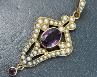 Antique 900 Silver Gilt AMETHYST PASTE & Seed Pearl Art Nouveau PENDANT