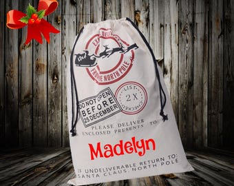 Personalized Christmas Santa sack, Childrens personalized Christmas bag, family personalized Christmas wrap Santa sack