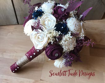 Burgundy wedding bouquet, Fall wedding bouquet, Sola wood bouquet, Alternative bouquet, Bridal bouquet, Rustic Fall bouquet, Wedding flowers