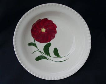 "Blue Ridge Bowl MOUNTAIN ROSE 9"" Round Vegetable Serving Dish Handpainted Red Flower Bargain Beauty (B05) 1054"