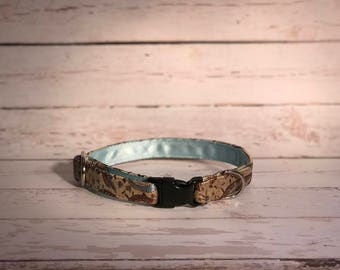MADE TO ORDER- Gold Paisley Dog Collar, Choose width- Buckle or Martingale- add Embroidery and/or Leash