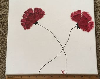 Simple Red Poppies Acrylic Painting, Red Flowers Painting
