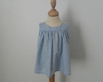 Sleeveless, 2 years old, blue satin top