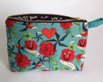 valentines gift, turquoise and red rose, heart tattoo print handmade fabric makeup, toiletry bag, purse for cosmetics