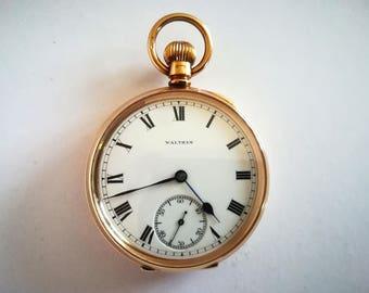 9ct gold 90gr WALTHAM vintage pocket watch like new