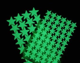 100 small stickers glow in the dark stars
