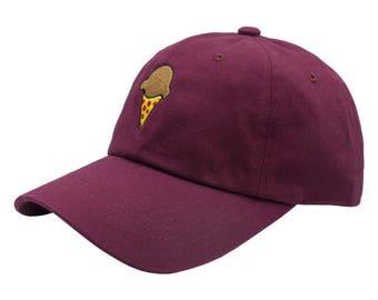 Pizza Cone Dad Hat - Maroon