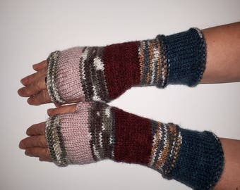 Women Fingerless gloves Mittens Long Arm Warmers Boho Glove Women Fingerless Wrist Multicolored gloves Knitted gloves Ready to ship