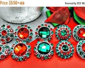 20% SALE Christmas Red & Green Rhinestone Button W/ Surrounding Acrylic Rhinestones Embellishments Garment Wedding Coat Buttons  26mm