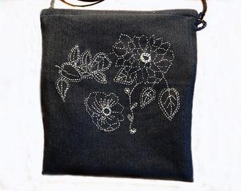 Pouch-bag treated way sashiko hand embroidery on denim