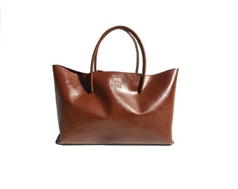 Big leather bag for wholesale shopping bag Einkaufsshopper Shopper XXL Cognac used look handmade