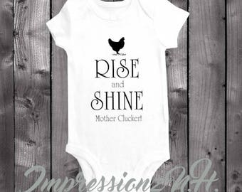 Funny onesie - Farm onesie - Funny baby bodysuit, one-piece shirt- Rise and Shine Mother Klucker - Farm baby