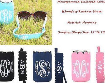 Can cooler and sunglass strap, sunglass strapa and can cooler set, scalloped edge can cooler, gift sets, personalized gifts, monogrammed