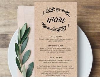 Rustic Wedding Menu Template, Printable Menu Card, Editable Template, Instant Download, DIY Wedding Reception Menu, Digital  #023-113WM