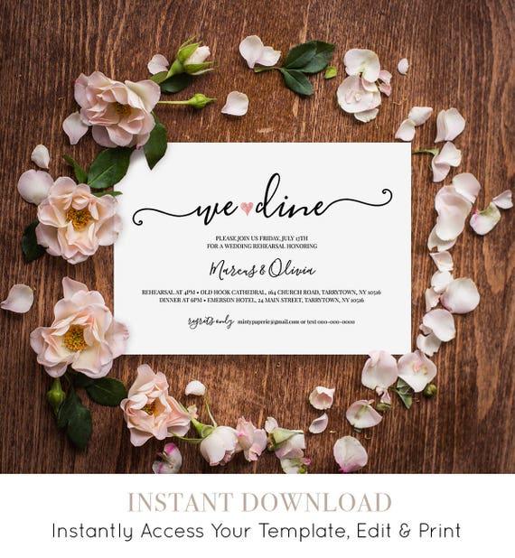 Rehearsal Dinner Template, We Dine Wedding Rehearsal Invitation, Printable Rehearsal Invite, Fully Editable, Instant Download  #030-203RD