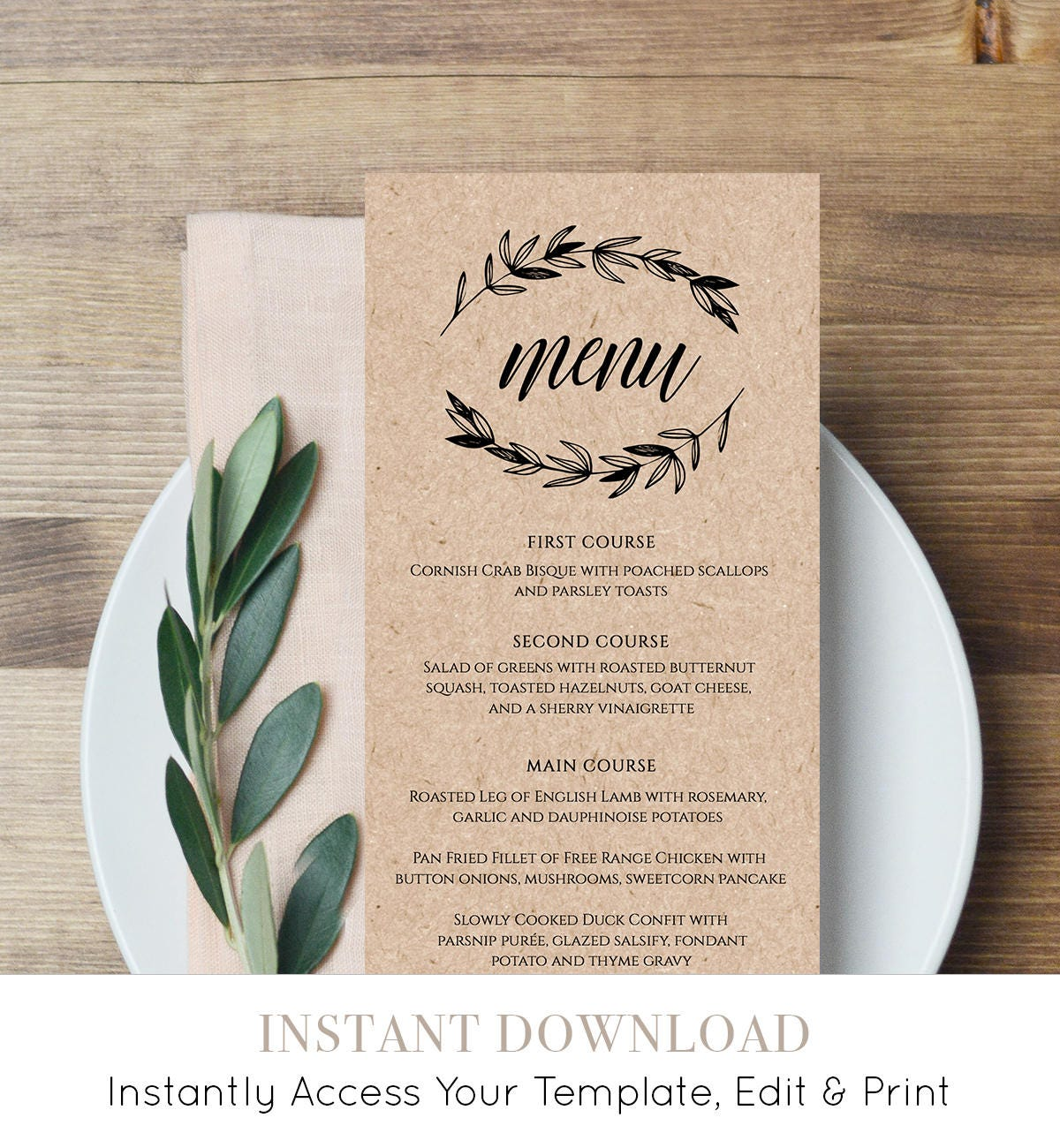 Rustic wedding menu template printable menu card for Menu templates for weddings