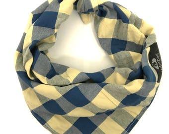Blue Plaid Dog Bandana, Seersucker Dog Bandana, Tie on Dog Bandana