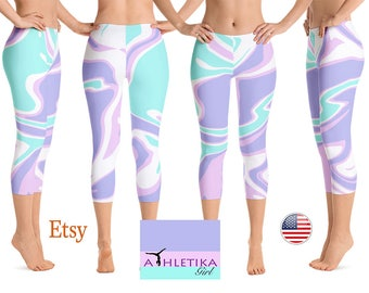 Signature Liquid Marble Printed Leggings Pants Low Waist Tights Capri Wear Yoga Workout High Rise Waistband Woman Print Mint Purple Pink
