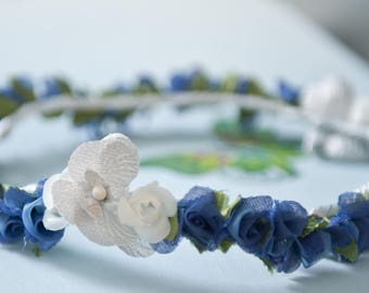 Woven on a satin ribbon fabric flowers crowns