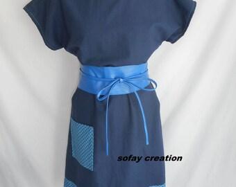 Blue short dress with matching belt