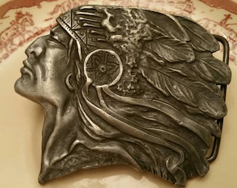 "Vintage ""Indiana Metal Craft, Bloomington"" Pewter Indian Head Belt Buckle"