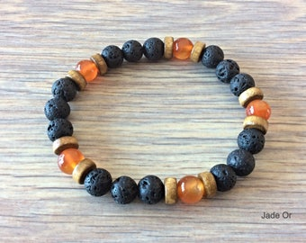 Ethnic amber bracelet, wood and lava stone (man/woman)
