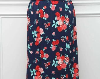 Floral Navy Skirt